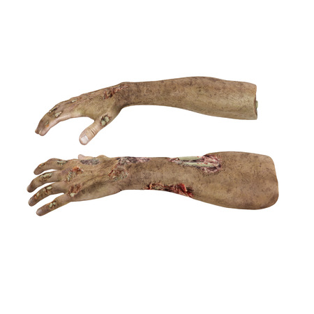 Terrible zombie hands, dirty hands of the mummy, on white background. 3D illustration Stock Photo