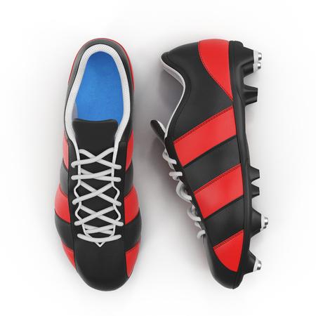 屋外のサッカーのクリートに白靴。平面図です。3 D イラストレーション