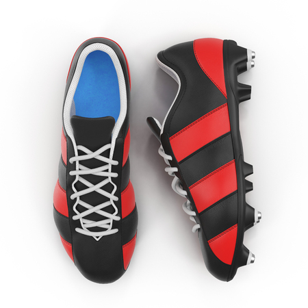Outdoor soccer cleats shoes on white. Top view. 3D illustration Stock Photo
