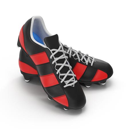 Outdoor voetbal klopt schoenen op wit. 3D illustratie