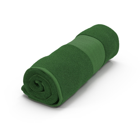 Rolled up green towel isolated on white background. 3D illustration Stock Photo