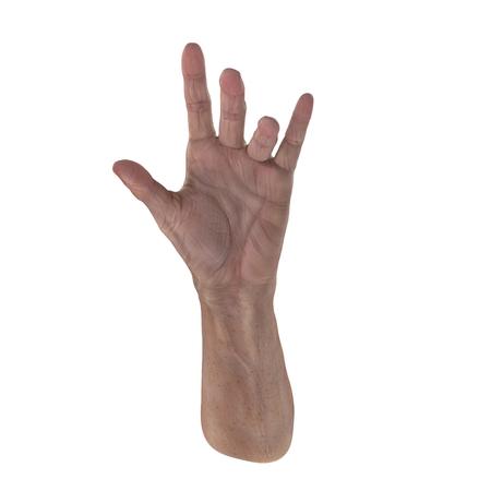 Old man hand on a white. 3D illustration