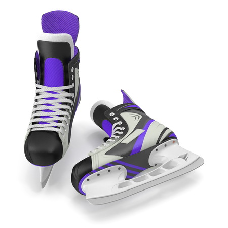 Pair of the Hockey ice skates for girls, isolated on a white background. 3D illustration Stock Photo