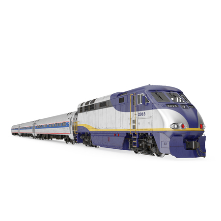 Passenger train on white. 3D illustration