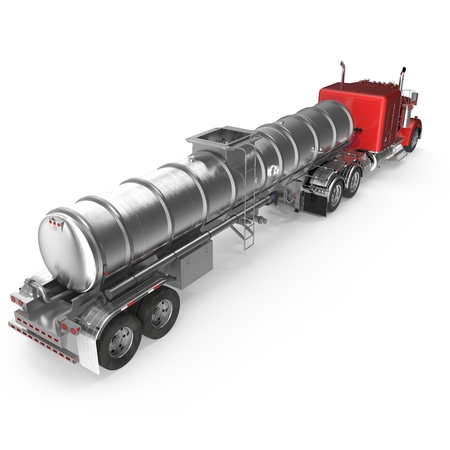 Fuel Tanker Truck on white. 3D illustration Stock Photo
