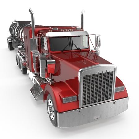 Tankwagen van de brandstof op wit. 3D illustratie Stockfoto