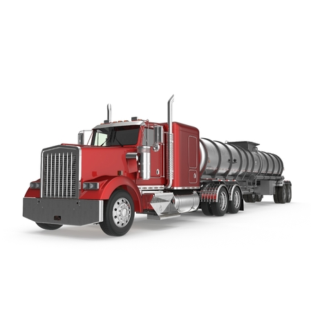 cilindro de gas: Big White Fuel Tanker Truck on white. 3D illustration