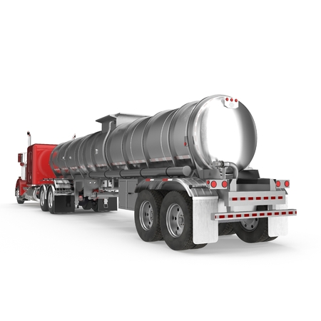 Big White Fuel Tanker Truck on white. 3D illustration