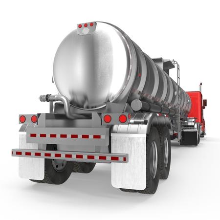 차량. 큰화물 트럭. 탱크. 화이트 가솔린 유조선입니다. 3D 일러스트 레이션