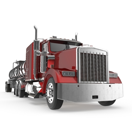 Vehicle. Big Cargo Truck. Tank. Gasoline tanker on white. 3D illustration