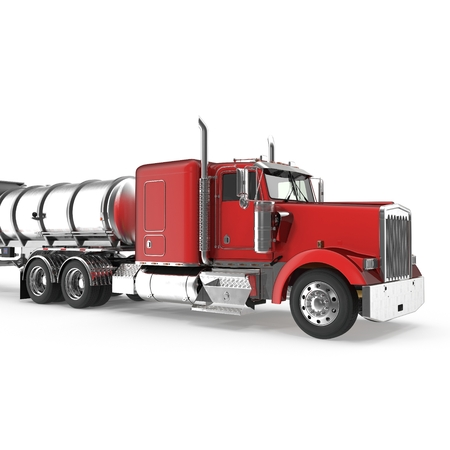 Red american truck with big cistern isolated on white. 3D illustration