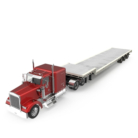 Truck with Double Drop Trailer on white. 3D illustration