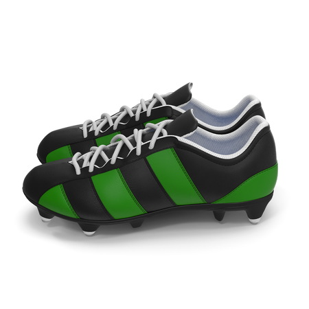 Football boots on white. 3D illustration