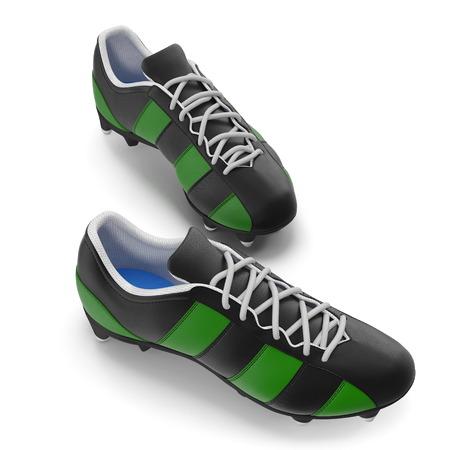 Football boots on white. 3D illustration