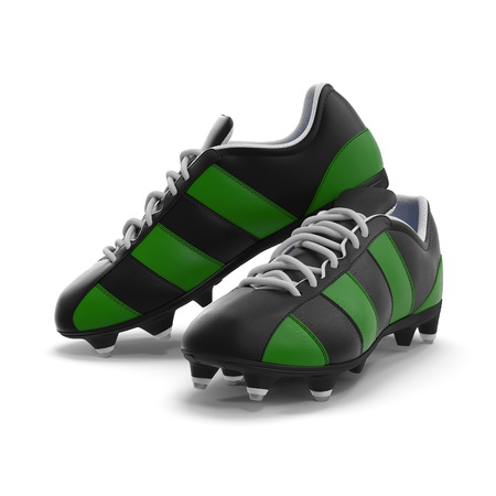 Outdoor soccer cleats shoes on white. 3D illustration