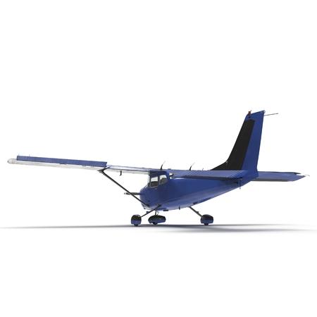 Petit avion à hélices bleu isolé sur blanc. Illustration 3D Banque d'images - 87966680