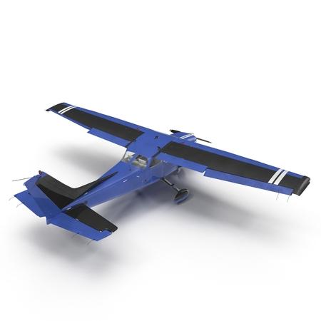 Blue Propeller civil plane on white. 3D illustration Stock Photo
