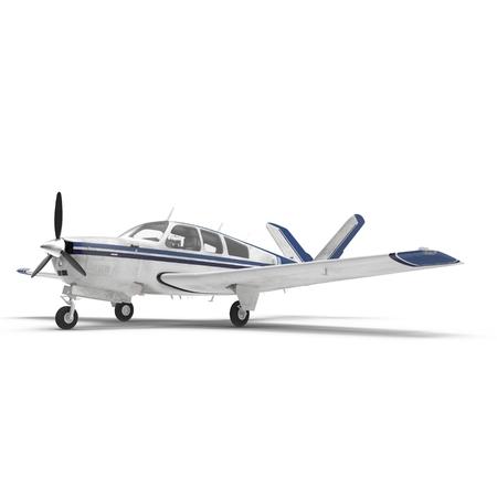 Petit avion à hélices isolé sur blanc. Illustration 3D Banque d'images - 87966723