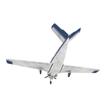 Propeller civil plane on white. 3D illustration