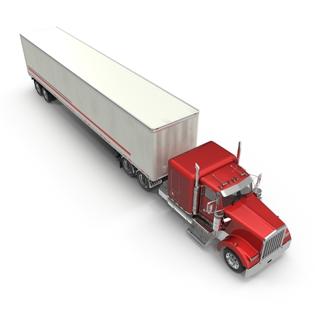 Red truck with a trailer on white 3D Illustration