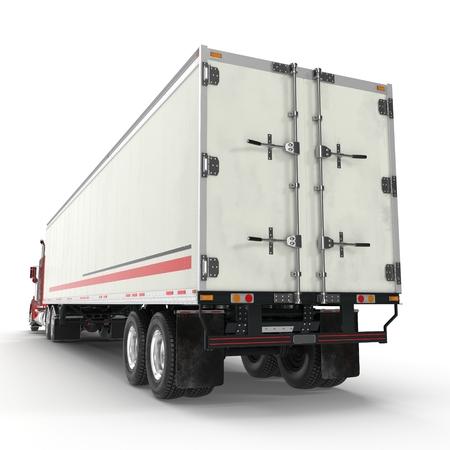 Camion rouge avec une remorque sur illustration 3D blanche Banque d'images - 87966789