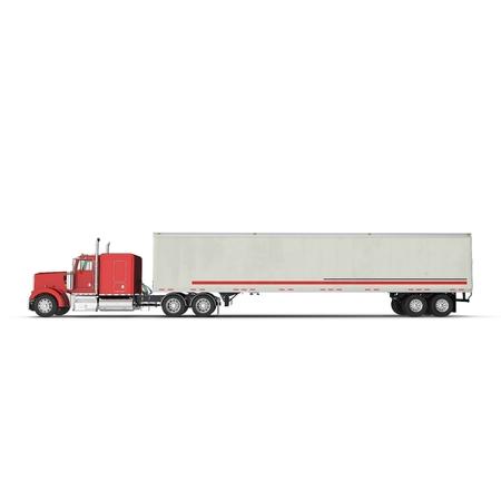 Rode vrachtwagen met een aanhangwagen op witte 3D Illustratie