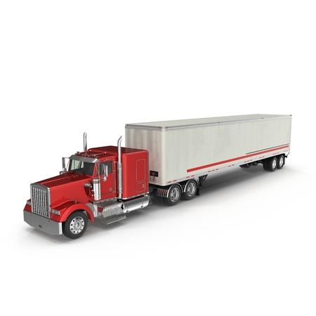 Camion rouge avec une remorque sur blanc Illustration 3D