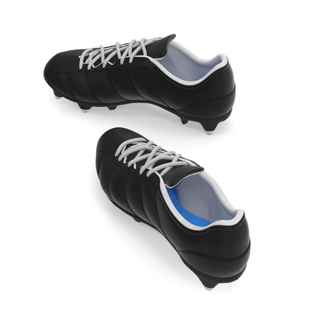 Outdoor soccer cleats shoes on white background. 3D illustration Stock Photo