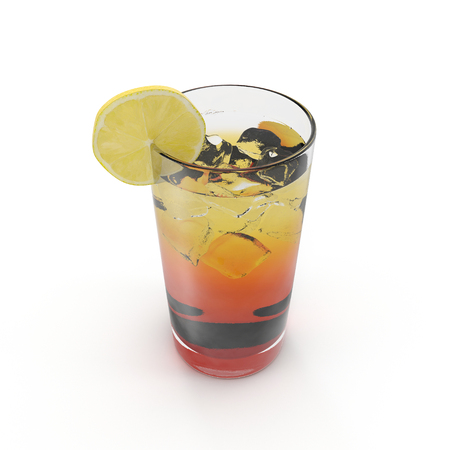 Fresh and cold ice tea with sliced lemon on white. 3D illustration
