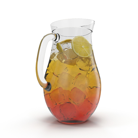 Pitcher of lemon ice tea isolated on white. 3D illustration Stock Photo