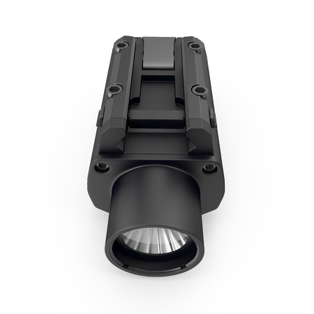 LED Tactical Weapon Light on white. 3D illustration Stock Photo