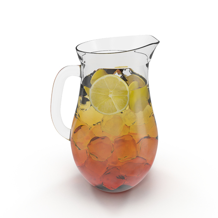 Iced tea in the pitcher. A jug of cold tea on white. 3D illustration