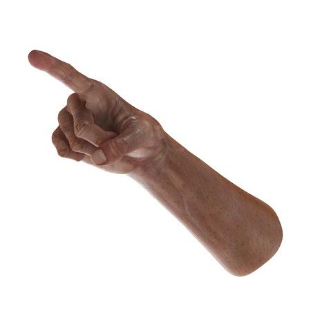 Wrinkled on old man hand skin on white. 3D illustration Stock Photo