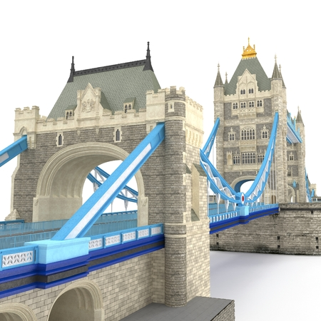 touristic: The TowerBridge in London on white. 3D illustration