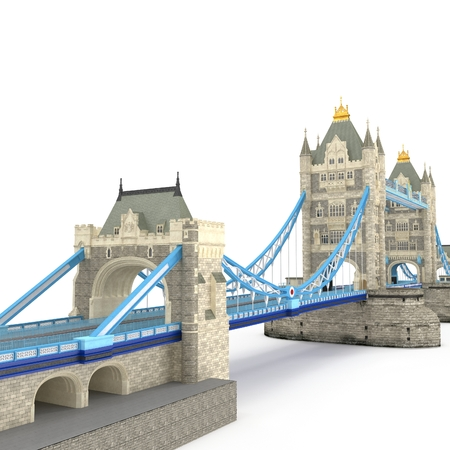 The TowerBridge in London on white. 3D illustration