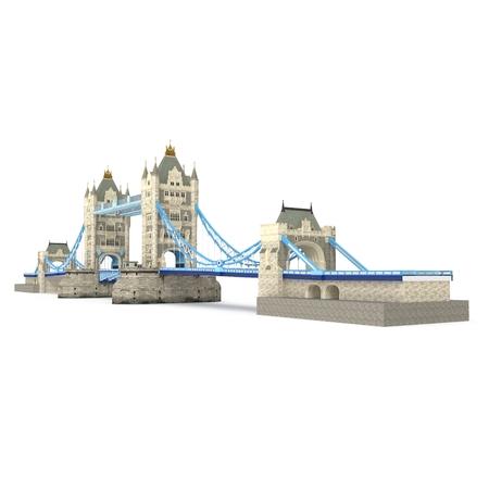 London landmark Towerbridge on white background. 3D illustration