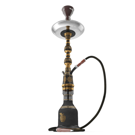 Black hookah with black rubber tube and black flask isolated on white. 3D illustration Stock Photo
