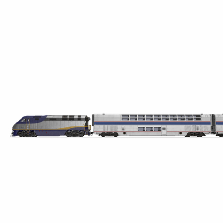 Modern high-speed double deck train on white background. 3D illustration Stock Photo