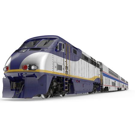 Dubbeldeks trein met hoge snelheid op witte achtergrond. 3D illustratie Stockfoto