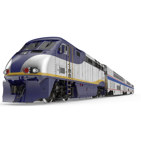 High speed passenger double deck train on white background. 3D illustration Stock Illustration - 89280211