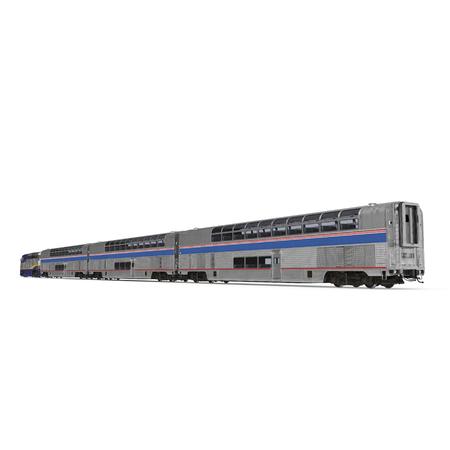 High speed passenger double deck train on white background. 3D illustration Stock Photo