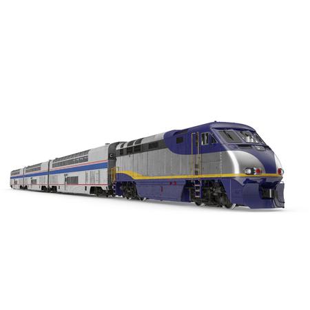 high speed train: Passenger double deck train on white background. 3D illustration Stock Photo