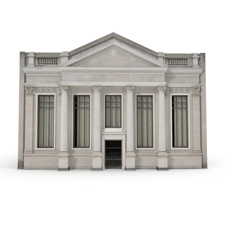 Classic Building with Columns on a white. 3D illustration Stock Photo