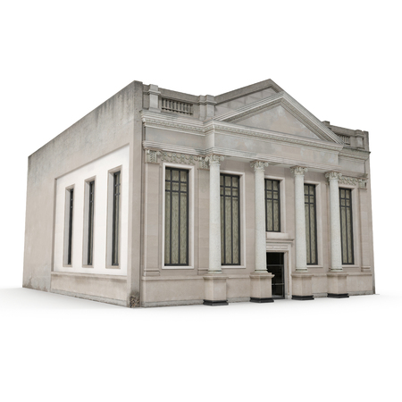 Classic Building with Columns on a white. 3D illustration Imagens