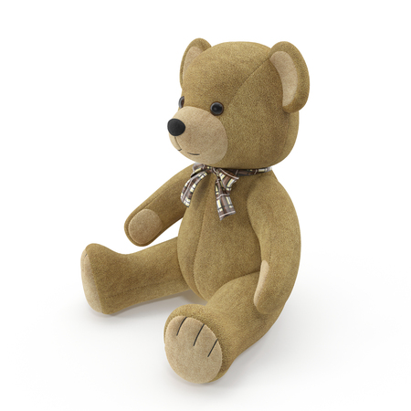Toy Teddy Bear on a white. 3D illustration Imagens