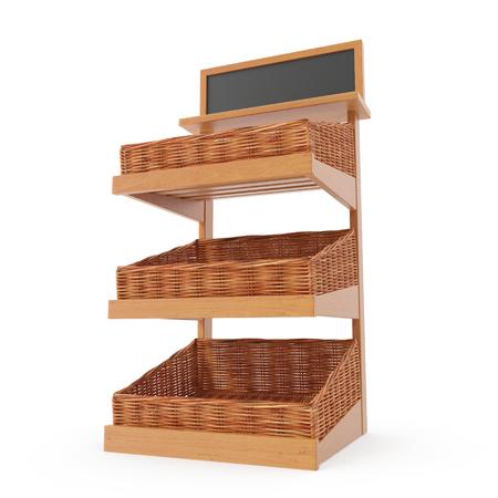 Rattan Bakery Display Shelves on white. 3D illustration