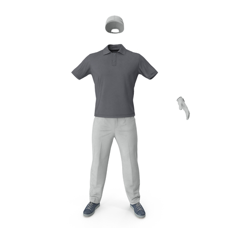 Golf Clothes on white. Front view. 3D illustration Stock Photo