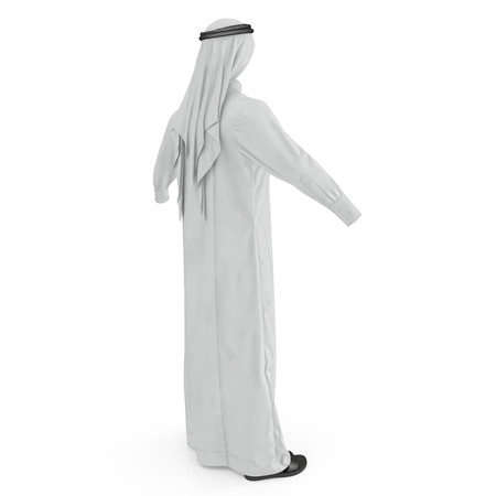 Arab Man Clothes on white. Rear view. 3D illustration