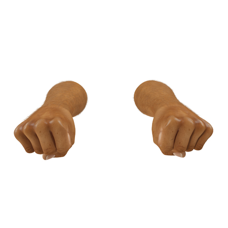 Man hand clenched into fist on white. 3D illustration
