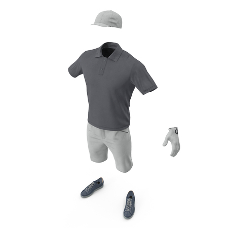 Golf Clothes on white. 3D illustration